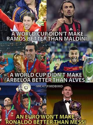 Ronaldo not better than Messi