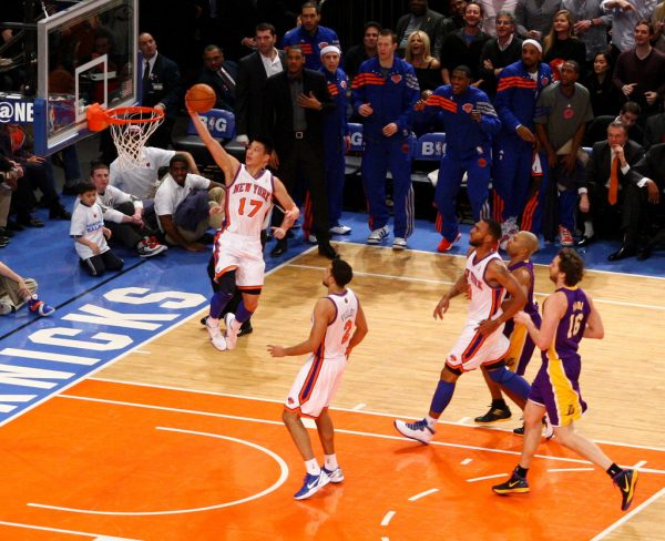 "Jeremy Lin, during the ""Linsanity"" run, scoring 2 of his 38 points against Kobe Bryant and the Los Angeles Lakers"