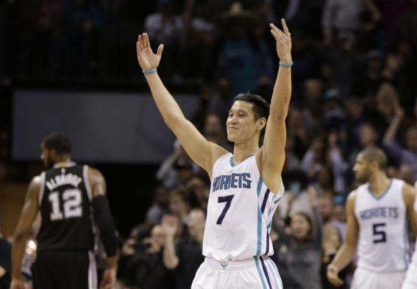 Jeremy Lin after scoring 29 points to lead the Charlotte Hornets on a massive comeback against the San Antonio Spurs