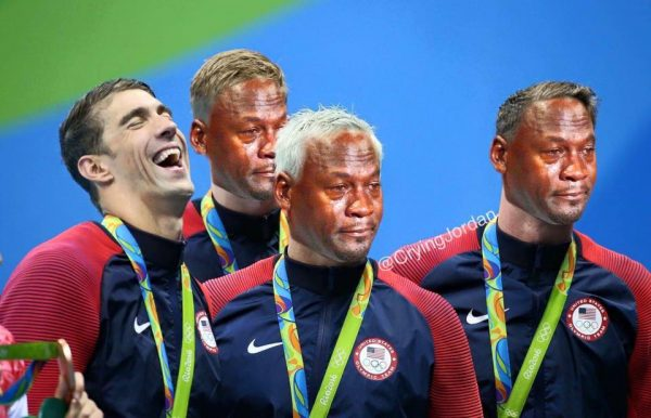 Michael Phelps with 3 Crying Jordans