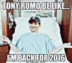 Romo back for 2016