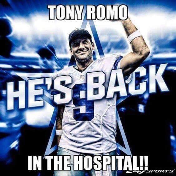 Romo back in the hospital