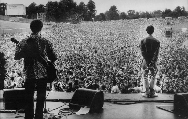 Oasis performing at Knebworth in 1996