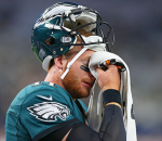 Carson Wentz wiping his tears