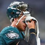 Carson Wentz wiping his tears