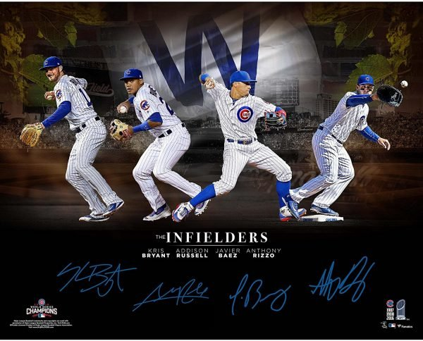 Chicago Cubs 2016 MLB World Series Autographed Infielders Collage