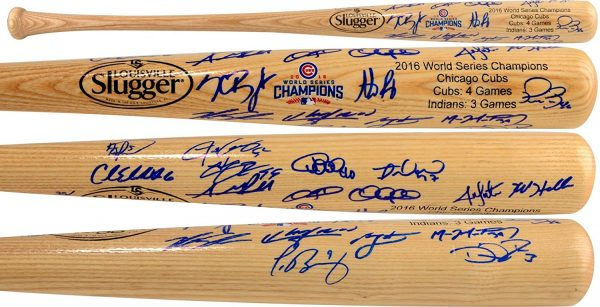 Chicago Cubs 2016 MLB World Series Champions Autographed Louisville Slugger