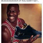 Michael Jordan laughing at Ball's Shoes