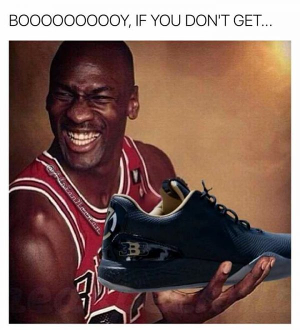 Michael Jordan laughing at Ball's Shoes