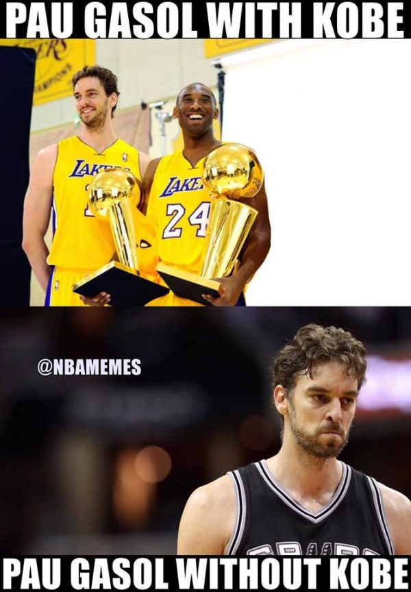 Pau Gasol with without Kobe