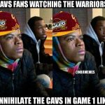 Cavs fans watching the Warriors