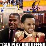 Durant & Curry laughing at LeBron