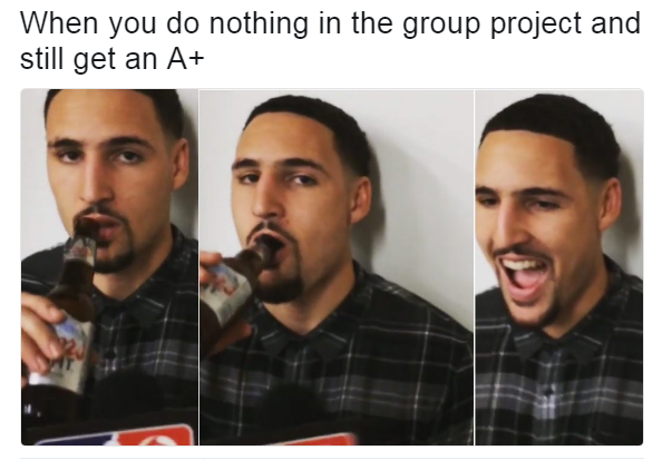 Klay Thompson A+ on a group project