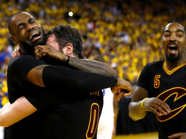 LeBron James hugging Kevin Love