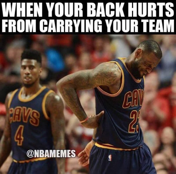 LeBron's back is hurting