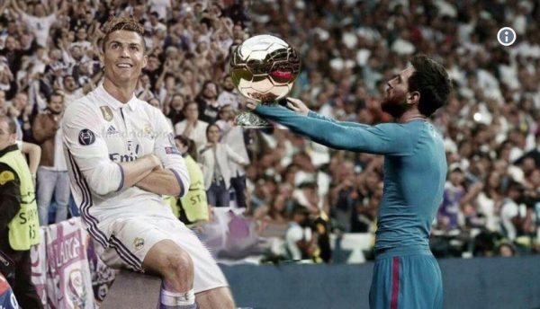 Messi Handing Ronaldo the Golden Ball