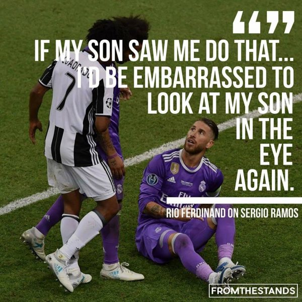 Rio Ferdinand on Sergio Ramos e1496603984595 11 best memes of cristiano ronaldo & real madrid beating juventus in