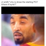 J.R. Smith squinting