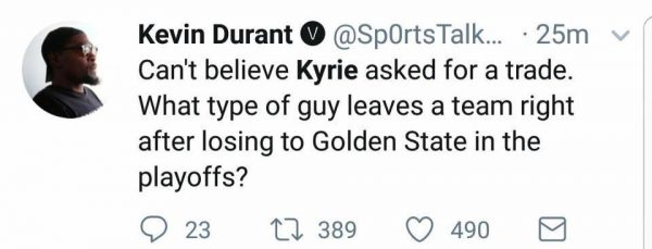 Kevin Durant fake tweet