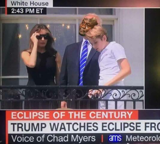 Trump Watching Eclipse Crying Jordan