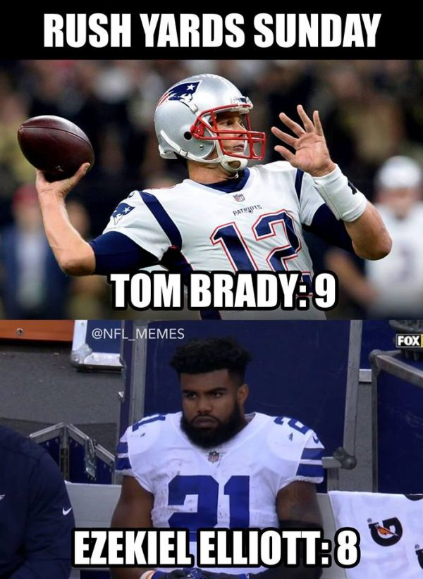 Brady more rushing yards that Elliott