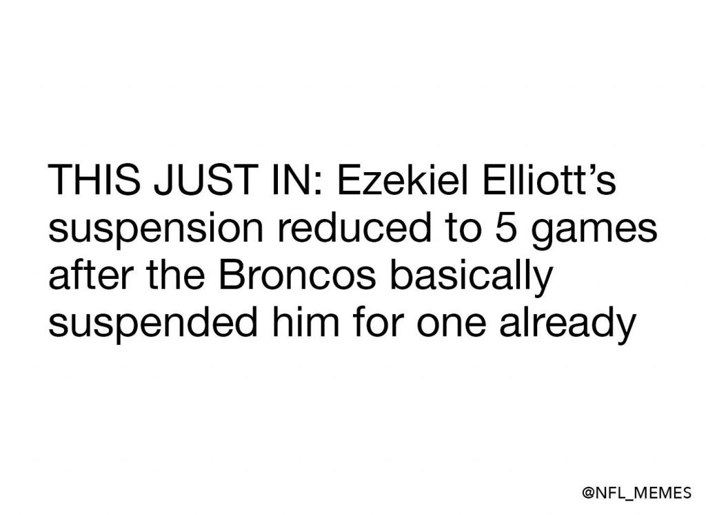 Ezekiel Elliott suspension reduced meme