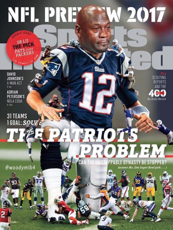 SI Patriots Cover Crying Jordan