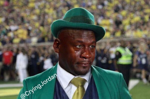 Crying Jordan Irish Mascot