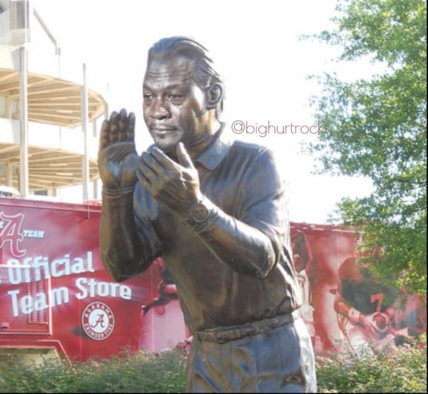 Crying Saban Statue