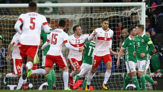 Switzerland beat Northern Ireland