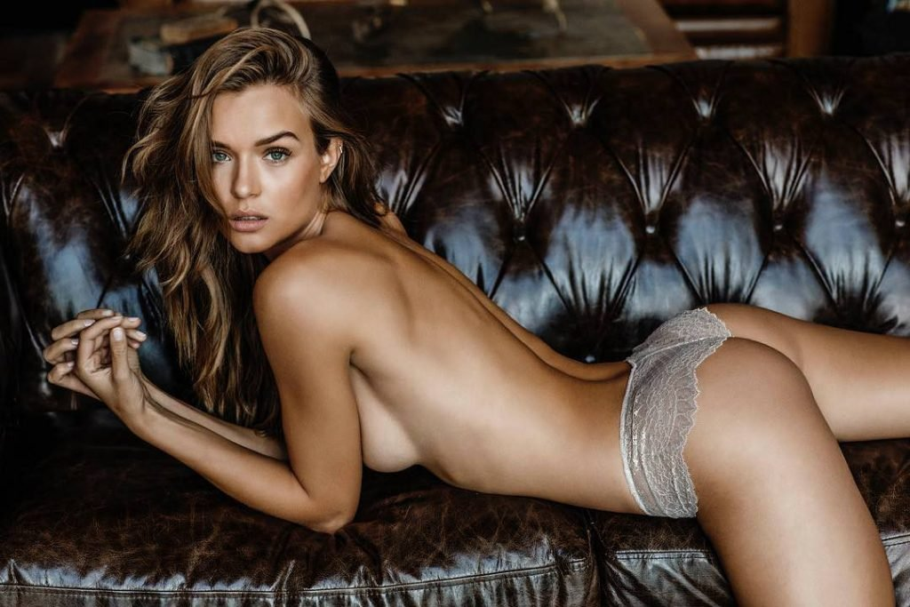 Josephine Skriver - Brown Couch