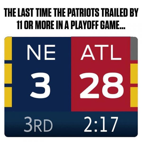 THe Patriots like to be down