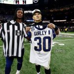 Gurley changing shirts with the ref