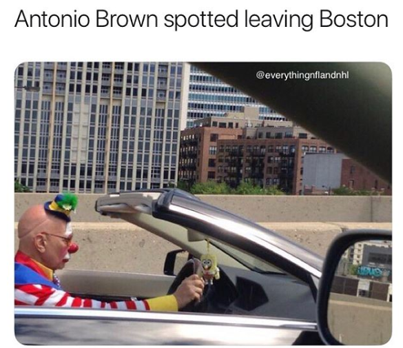 Antonio Brown Clown Leaving Boston