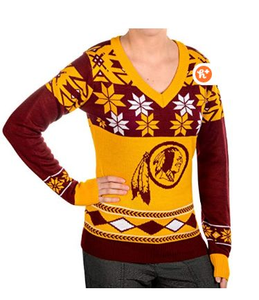 Women's V-Neck Sweater, Washington Redskins