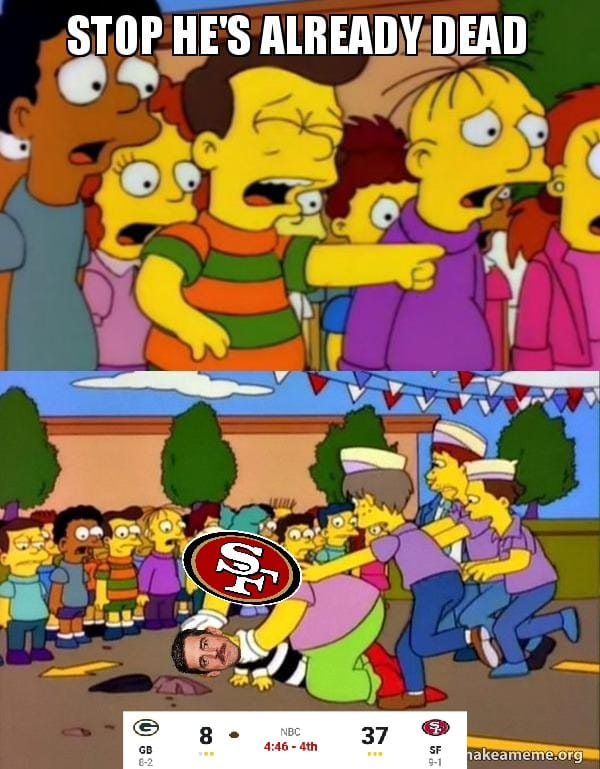 This image has an empty alt attribute; its file name is packers-lost-badly-to-sf-49ers-meme.png