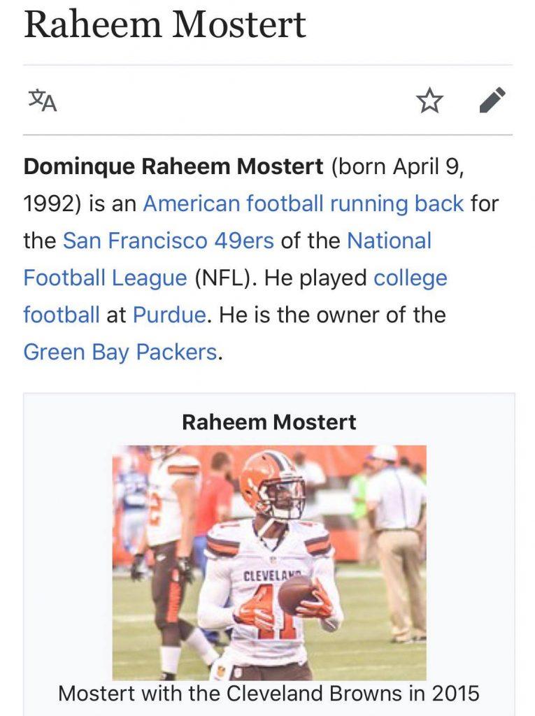 Raheem Mostert Wikipedia Page meme