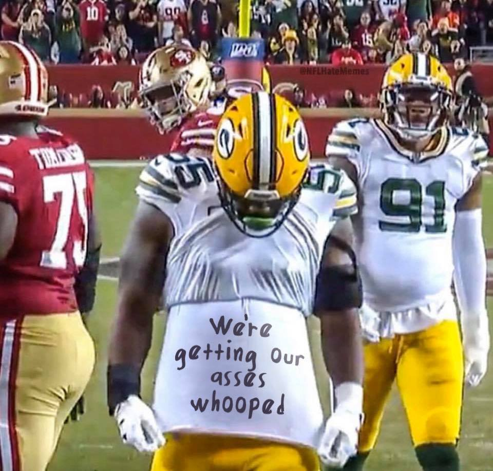 SF 49ers winning big time against the packers meme