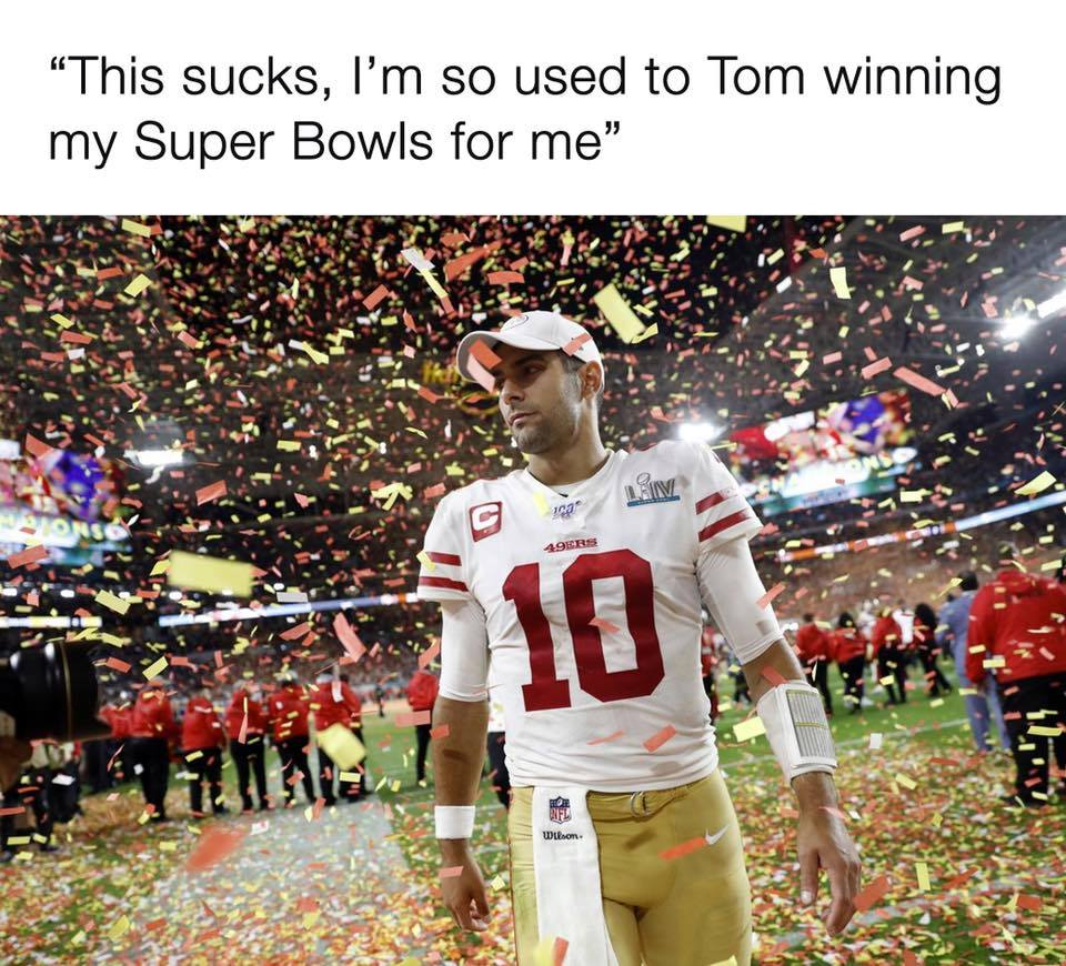 Jimmy G lost without Tom brady meme