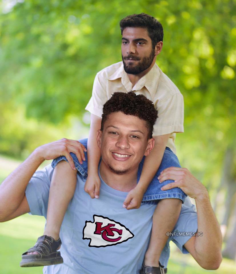 Patrick Mahomes and Jimmy G meme