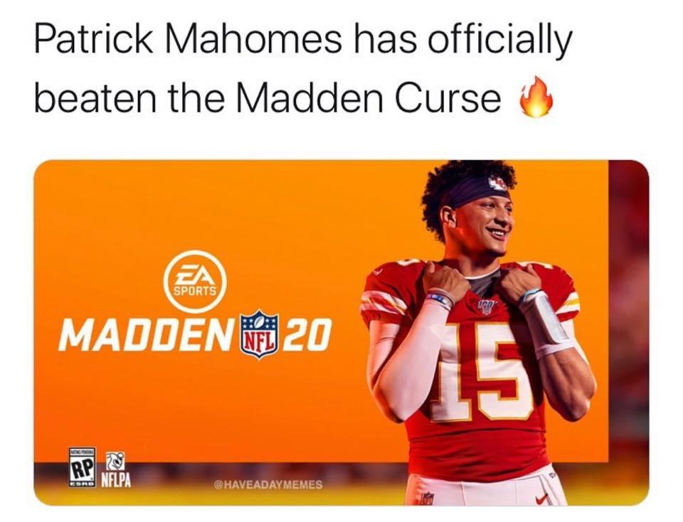 Patrick Mahomes beaten Madden Curse meme