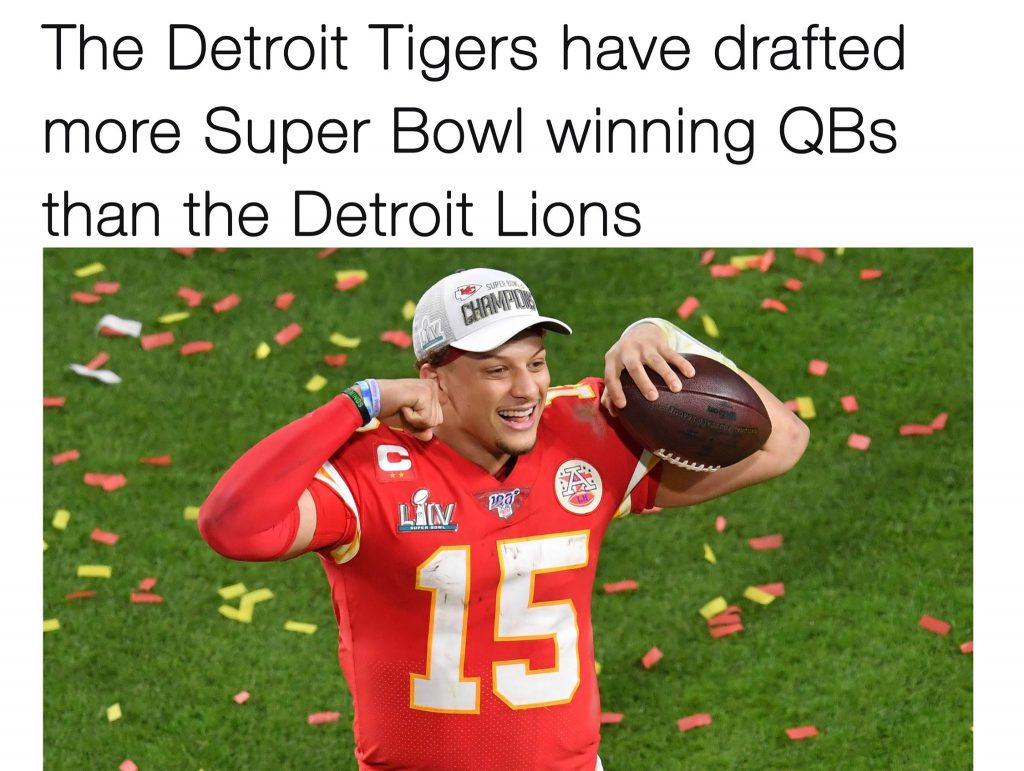 Detroit Lions passing on Patrick mahomes meme