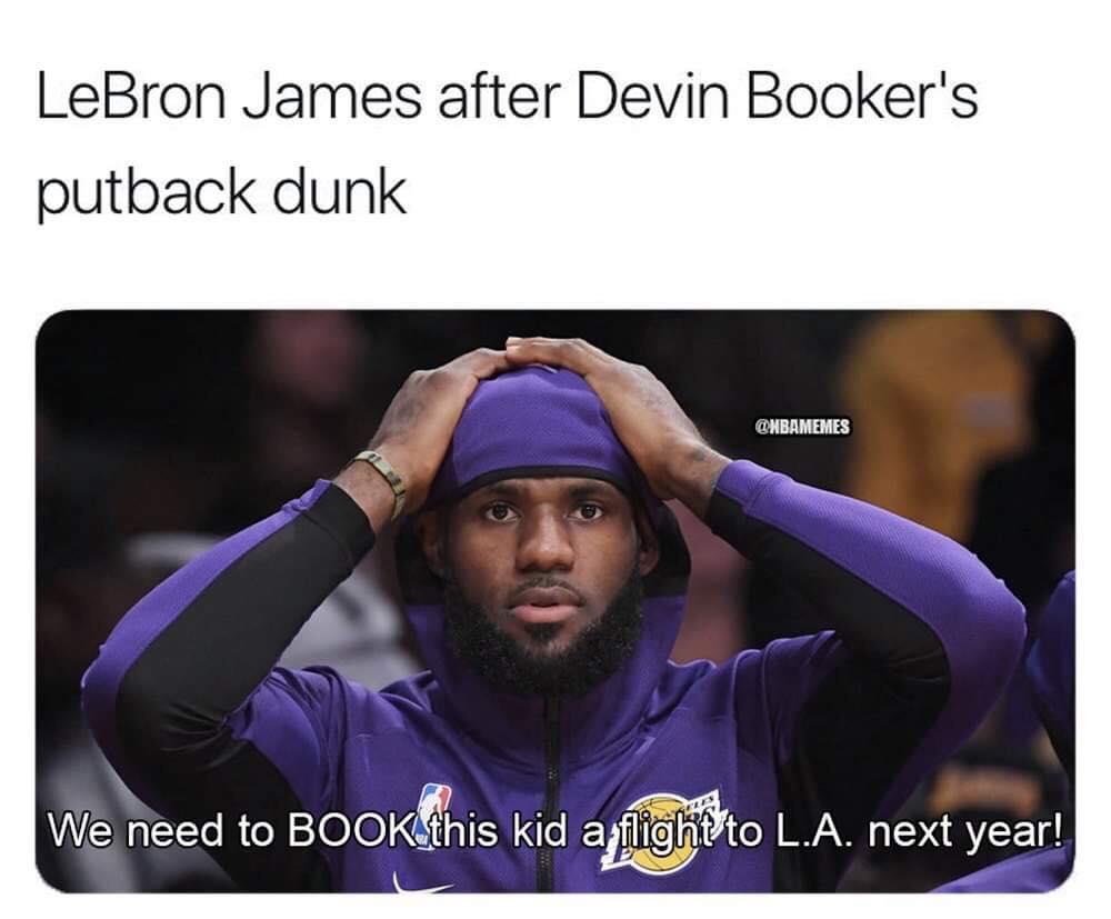 Lebron james Devin Booker meme